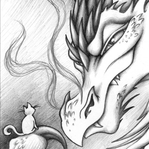 hand drawn pencil Dragon cat Illustration