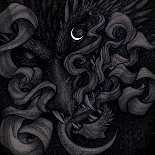 hand drawn dragon illustration night watcher moon