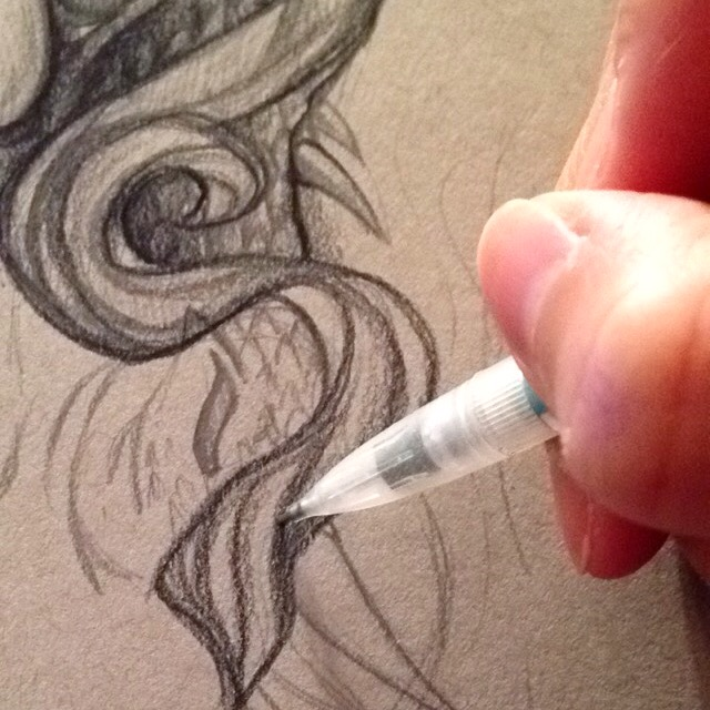 pencil dragon illustration process