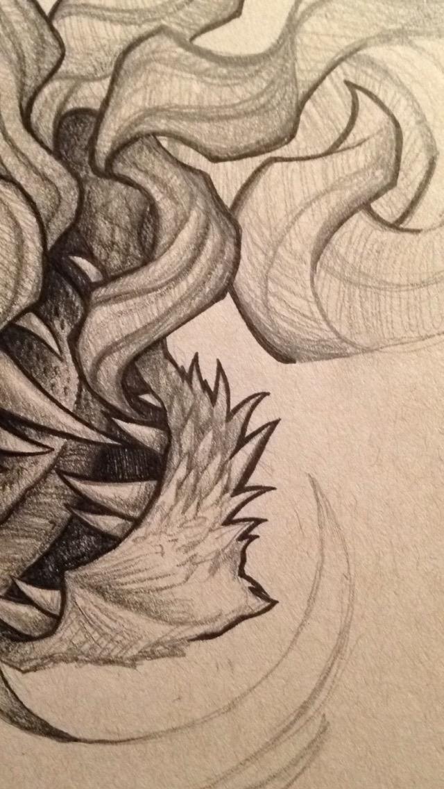 dragon pencil illustration progress